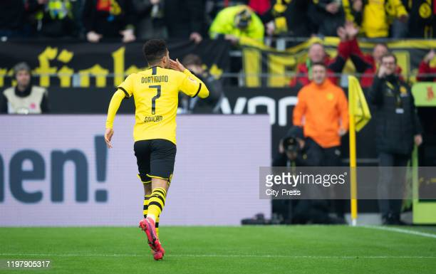 Jadon Sancho of Borussia Dortmund celebrates after scoring the 10 during the game between Borussia Dortmund and the 1 FC Union Berlin on february 1...