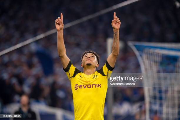 Jadon Sancho of Borussia Dortmund celebrates after scoring the winning goal to the 1:2 during the Bundesliga match between FC Schalke 04 and Borussia...