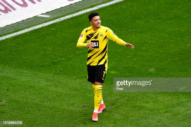 Jadon Sancho of Borussia Dortmund celebrates after scoring their team's second goal during during the Bundesliga match between Borussia Dortmund and...