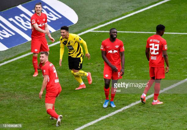 Jadon Sancho of Borussia Dortmund celebrates after scoring their side's third goal during the Bundesliga match between Borussia Dortmund and RB...