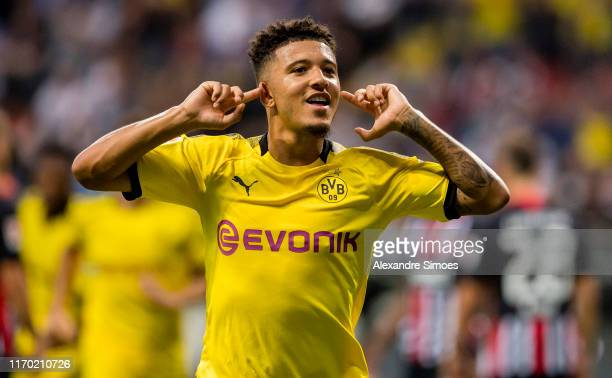 Jadon Sancho of Borussia Dortmund celebrates scoring the goal to the 12 during the Bundesliga match between Eintracht Frankfurt and Borussia Dortmund...