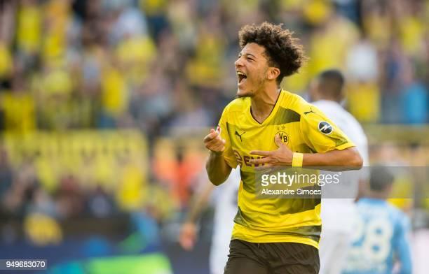 Jadon Sancho of Borussia Dortmund cheers after scoring his team's 1st goal during the Bundesliga match between Borussia Dortmund and Bayer 04...