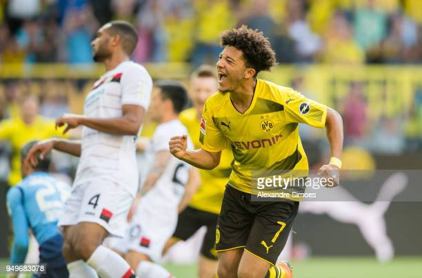 Jadon Sancho of Borussia Dortmund cheers after scoring his team's 1st goal during the Bundesliga match between Borussia Dortmund and Bayer 04...