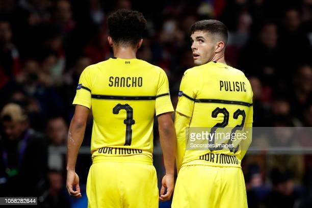 Jadon Sancho of Borussia Dortmund Christian Pulisic of Borussia Dortmund during the UEFA Champions League match between Atletico Madrid v Borussia...