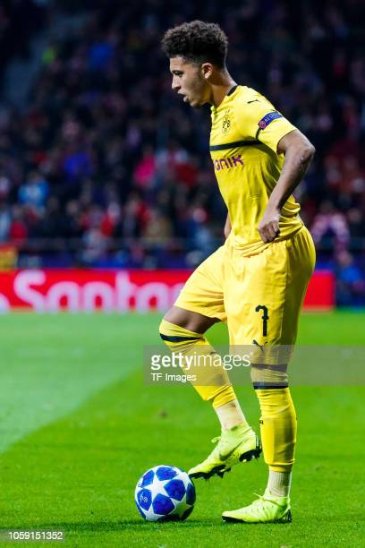 Jadon Sancho of Borussia Dortmund controls the ball during the Group A match of the UEFA Champions League between Club Atletico de Madrid and...