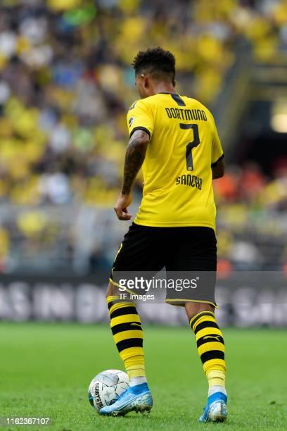 Jadon Sancho of Borussia Dortmund controls the ball during the Bundesliga match between Borussia Dortmund and FC Augsburg at Signal Iduna Park on...