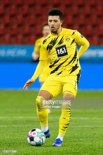 Jadon Sancho of Borussia Dortmund controls the ball during the Bundesliga match between Bayer 04 Leverkusen and Borussia Dortmund at BayArena on...