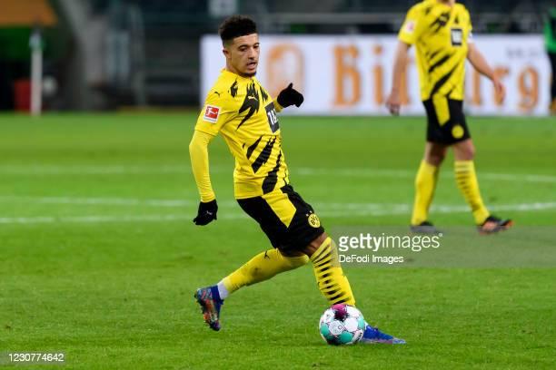 Jadon Sancho of Borussia Dortmund controls the ball during the Bundesliga match between Borussia Moenchengladbach and Borussia Dortmund at...