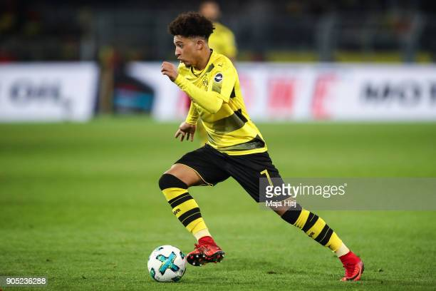 Jadon Sancho of Borussia Dortmund controls the ball during the Bundesliga match between Borussia Dortmund and VfL Wolfsburg at Signal Iduna Park on...