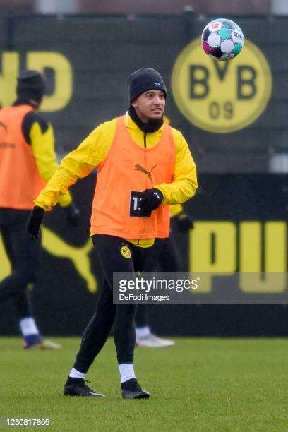 Jadon Sancho of Borussia Dortmund controls the ball during the Borussia Dortmund Training Session on January 26, 2021 in Dortmund, Germany.