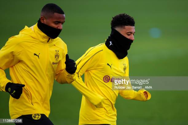 Jadon Sancho of Borussia Dortmund during the Borussia Dortmund Press Conference and Training Session ahead of their UEFA Champions League Round of 16...