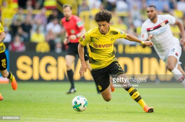 Jadon Sancho of Borussia Dortmund during the Bundesliga match between Borussia Dortmund and Bayer 04 Leverkusen at Signal Iduna Park on April 21 2018...