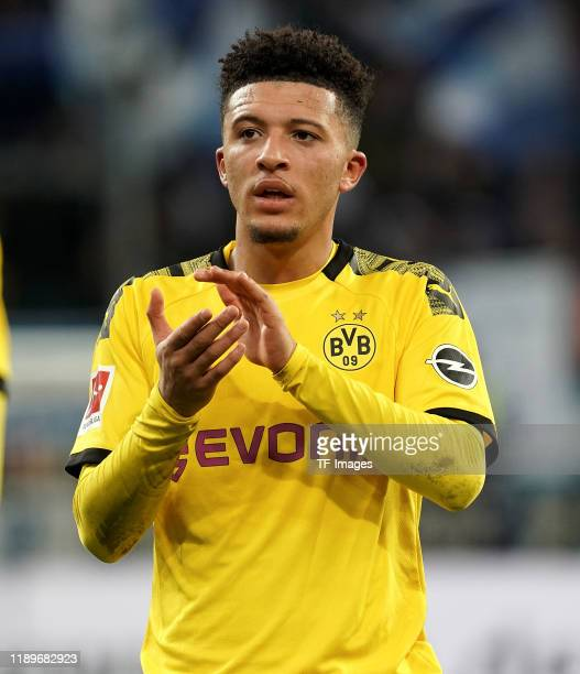 Jadon Sancho of Borussia Dortmund gestures during the Bundesliga match between TSG 1899 Hoffenheim and Borussia Dortmund at PreZeroArena on December...