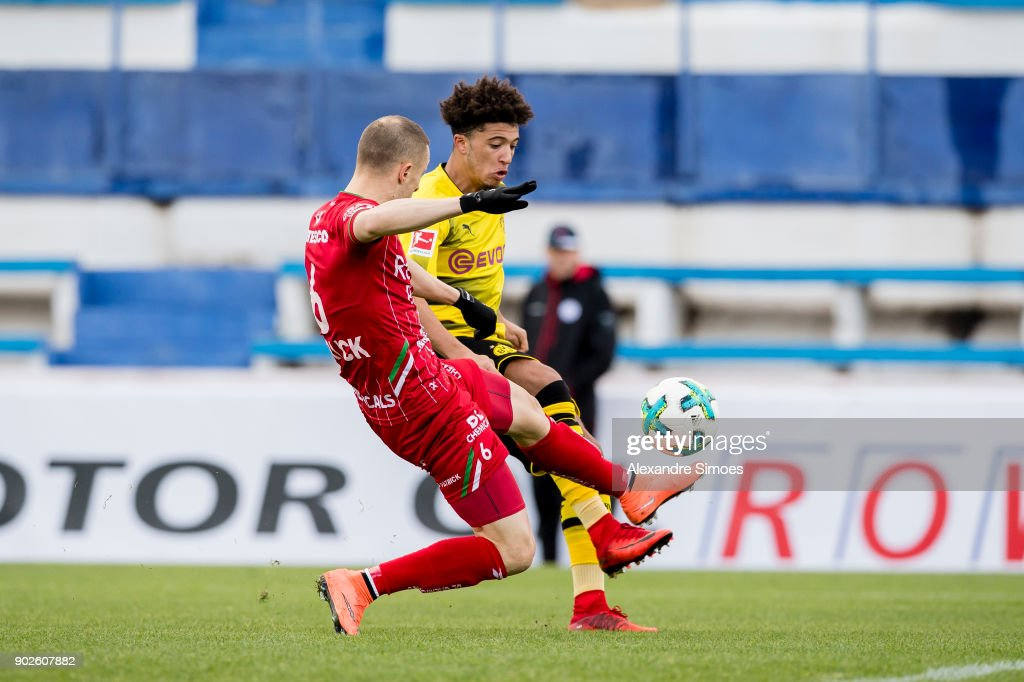 Jadon Sancho of Borussia Dortmund in action during a friendly match between Borussia Dortmund and SV Zulte Waregem as part of the training camp at the Estadio Municipal de Marbella on January 08, 2018 in Marbella, Spain.