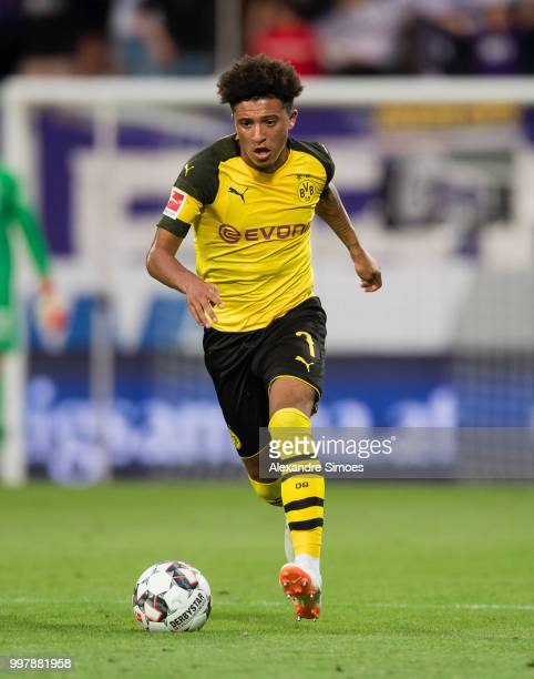 Jadon Sancho of Borussia Dortmund in action during a friendly match against Austria Wien at the Generali Arena on July 13 2018 in Vienna Austria