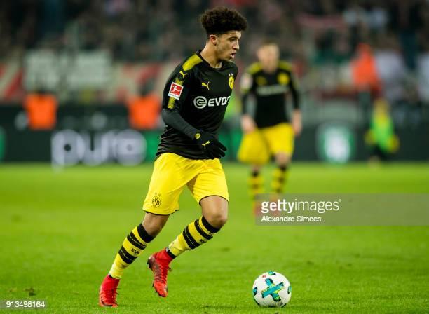 Jadon Sancho of Borussia Dortmund in action during the Bundesliga match between 1 FC Koeln and Borussia Dortmund at the RheinEnergieStadion on...