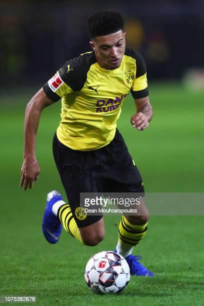 Jadon Sancho of Borussia Dortmund in action during the Bundesliga match between Borussia Dortmund and Borussia Moenchengladbach at Signal Iduna Park...