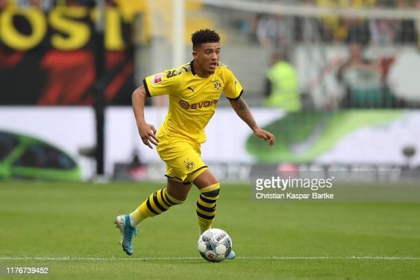 Jadon Sancho of Borussia Dortmund in action during the Bundesliga match between Eintracht Frankfurt and Borussia Dortmund at CommerzbankArena on...