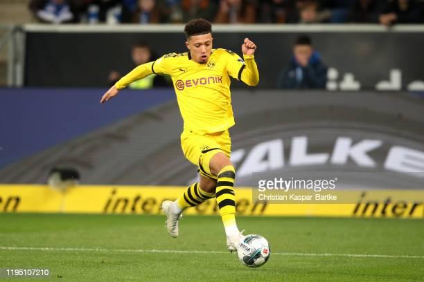 Jadon Sancho of Borussia Dortmund in action during the Bundesliga match between TSG 1899 Hoffenheim and Borussia Dortmund at PreZeroArena on December...