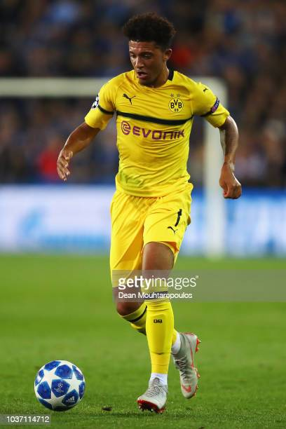 Jadon Sancho of Borussia Dortmund in action during the Group A match of the UEFA Champions League between Club Brugge and Borussia Dortmund at Jan...