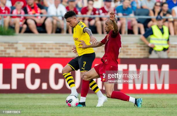Jadon Sancho of Borussia Dortmund in action during the match between Borussia Dortmund against Liverpool at the Notre Dame Stadium on July 19 2019 in...