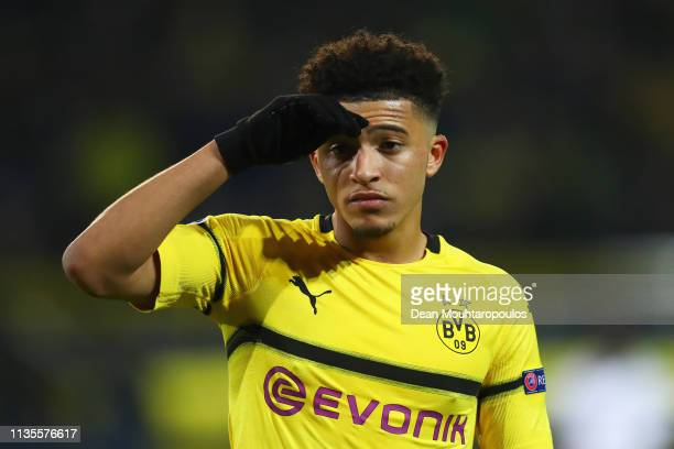 Jadon Sancho of Borussia Dortmund in action during the UEFA Champions League Round of 16 Second Leg match between Borussia Dortmund and Tottenham...