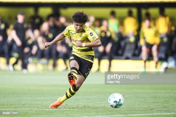 Jadon Sancho of Borussia Dortmund kicks the ball during the Bundesliga match between Borussia Dortmund and Bayer 04 Leverkusen at Signal Iduna Park...