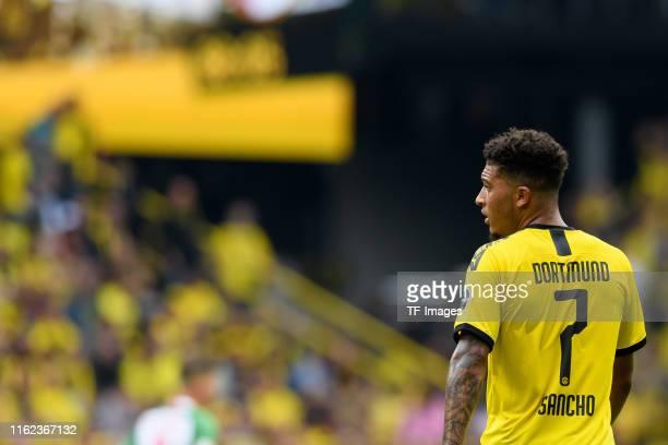 Jadon Sancho of Borussia Dortmund looks on during the Bundesliga match between Borussia Dortmund and FC Augsburg at Signal Iduna Park on August 17...