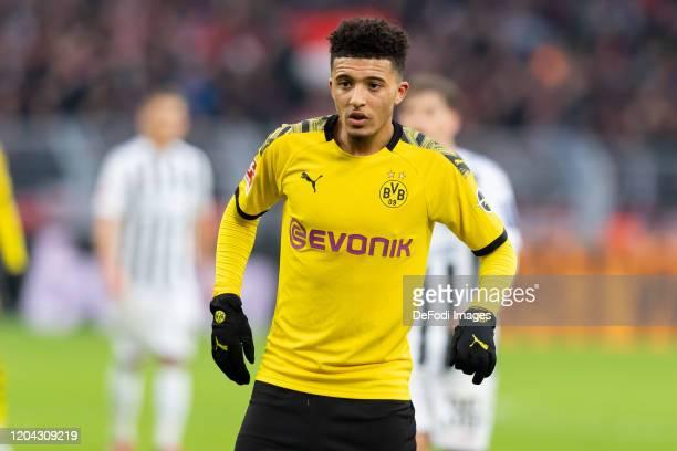 Jadon Sancho of Borussia Dortmund looks on during the Bundesliga match between Borussia Dortmund and Sport-Club Freiburg at Signal Iduna Park on...