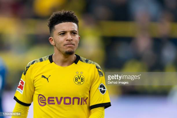 Jadon Sancho of Borussia Dortmund looks on during the Bundesliga match between Borussia Dortmund and Sport-Club Freiburg at Signal Iduna Park on...
