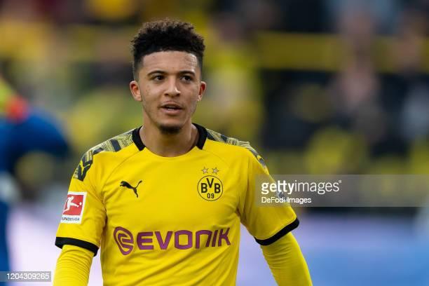 Jadon Sancho of Borussia Dortmund looks on during the Bundesliga match between Borussia Dortmund and SportClub Freiburg at Signal Iduna Park on...
