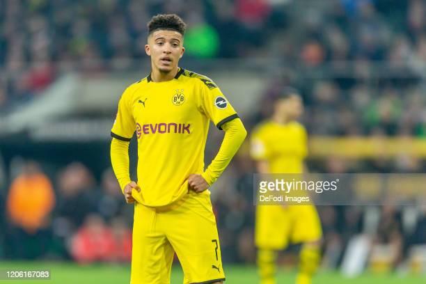 Jadon Sancho of Borussia Dortmund looks on during the Bundesliga match between Borussia Moenchengladbach and Borussia Dortmund at BorussiaPark on...