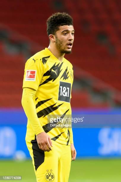 Jadon Sancho of Borussia Dortmund looks on during the Bundesliga match between Bayer 04 Leverkusen and Borussia Dortmund at BayArena on January 19,...