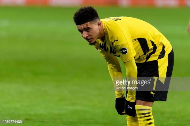 Jadon Sancho of Borussia Dortmund looks on during the Bundesliga match between Borussia Moenchengladbach and Borussia Dortmund at Borussia-Park on...