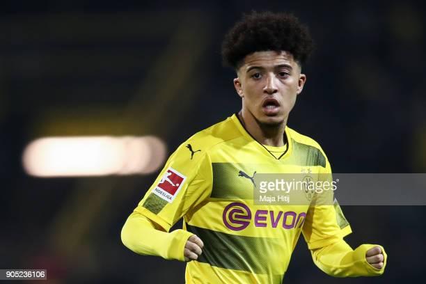 Jadon Sancho of Borussia Dortmund looks on during the Bundesliga match between Borussia Dortmund and VfL Wolfsburg at Signal Iduna Park on January 14...