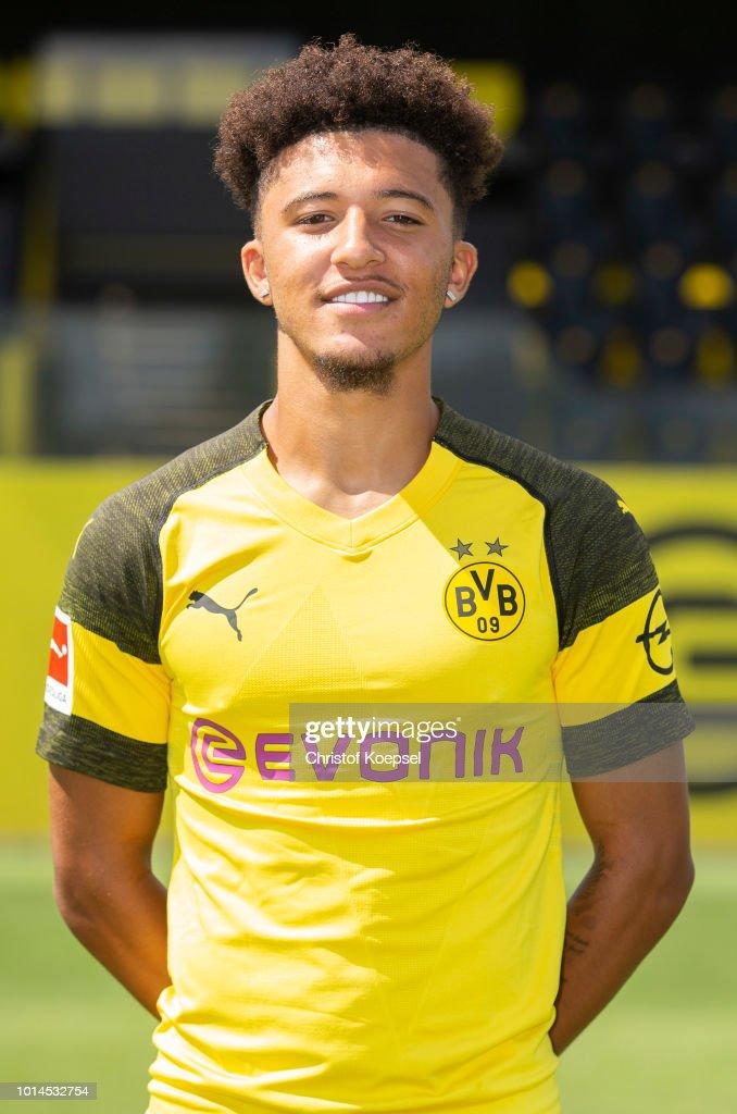 Jadon Sancho of Borussia Dortmund looks on during the team presentation at Training Ground Brackel on August 10, 2018 in Dortmund, Germany.