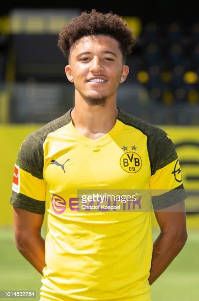 Jadon Sancho of Borussia Dortmund looks on during the team presentation at Training Ground Brackel on August 10 2018 in Dortmund Germany