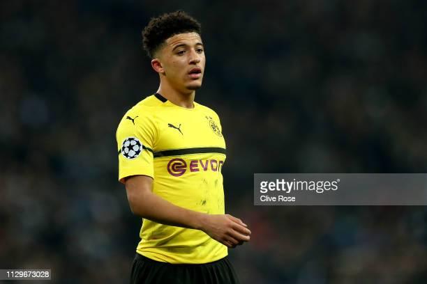 Jadon Sancho of Borussia Dortmund looks on during the UEFA Champions League Round of 16 First Leg match between Tottenham Hotspur and Borussia...