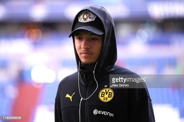 Jadon Sancho of Borussia Dortmund looks on prior to the Bundesliga match between FC Schalke 04 and Borussia Dortmund at VeltinsArena on October 26...