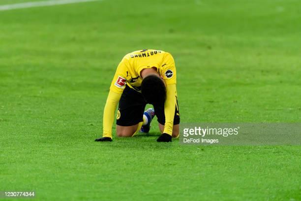 Jadon Sancho of Borussia Dortmund on the ground during the Bundesliga match between Borussia Moenchengladbach and Borussia Dortmund at Borussia-Park...