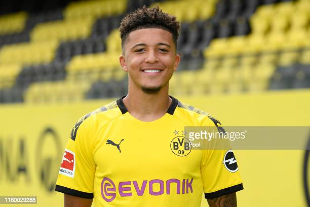 Jadon Sancho of Borussia Dortmund poses during the team presentation at the Dortmund Training Ground on August 6 2019 in Dortmund Germany