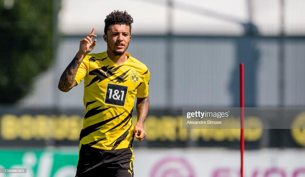 Jadon Sancho of Borussia Dortmund runs with the ball during a ...