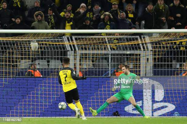 Jadon Sancho of Borussia Dortmund scores his team's first goal during the UEFA Champions League group F match between Borussia Dortmund and Slavia...