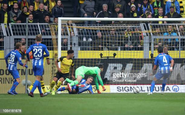Jadon Sancho of Borussia Dortmund scores his team's first goal which is disallowed during the Bundesliga match between Borussia Dortmund and Hertha...