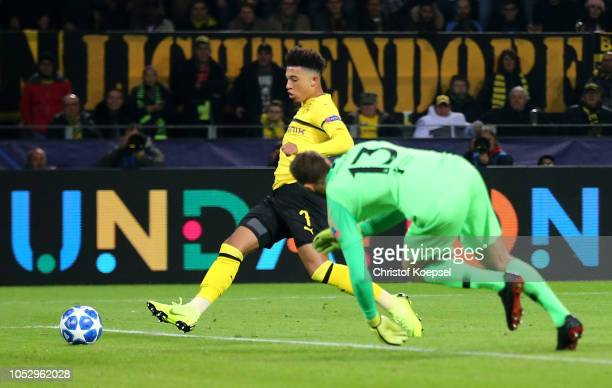 Jadon Sancho of Borussia Dortmund scores his team's third goal during the Group A match of the UEFA Champions League between Borussia Dortmund and...