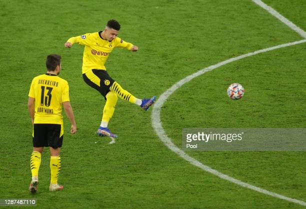 Jadon Sancho of Borussia Dortmund scores their sides second goal from a free-kick during the UEFA Champions League Group F stage match between...