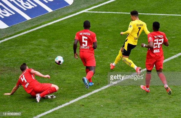 Jadon Sancho of Borussia Dortmund scores their side's third goal during the Bundesliga match between Borussia Dortmund and RB Leipzig at Signal Iduna...