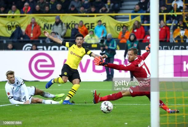 Jadon Sancho of Borussia Dortmund shoots for goal and hits the post during the Bundesliga match between Borussia Dortmund and TSG 1899 Hoffenheim at...