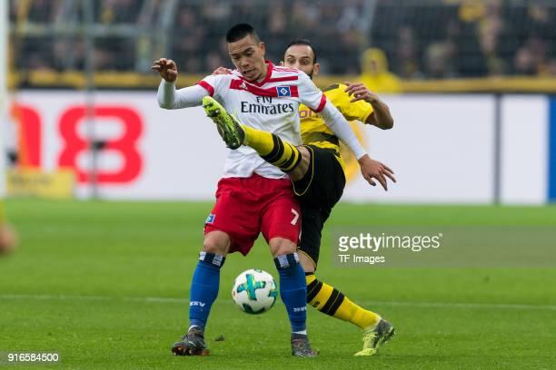 Jadon Sancho of Dortmund and Oemer Toprak of Dortmund battle for the ball during the Bundesliga match between Borussia Dortmund and Hamburger SV at...
