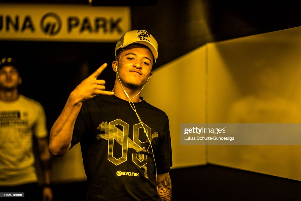 Jadon Sancho of Dortmund arrives through the players tunnel prior to the Bundesliga match between Borussia Dortmund and 1. FSV Mainz 05 at Signal Iduna Park on May 5, 2018 in Dortmund, Germany.